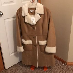 Ann Taylor Loft faux suede and faux fur coat NWT